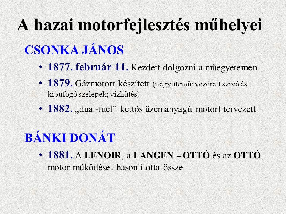 A hazai motorfejlesztés műhelyei CSONKA JÁNOS 1877.