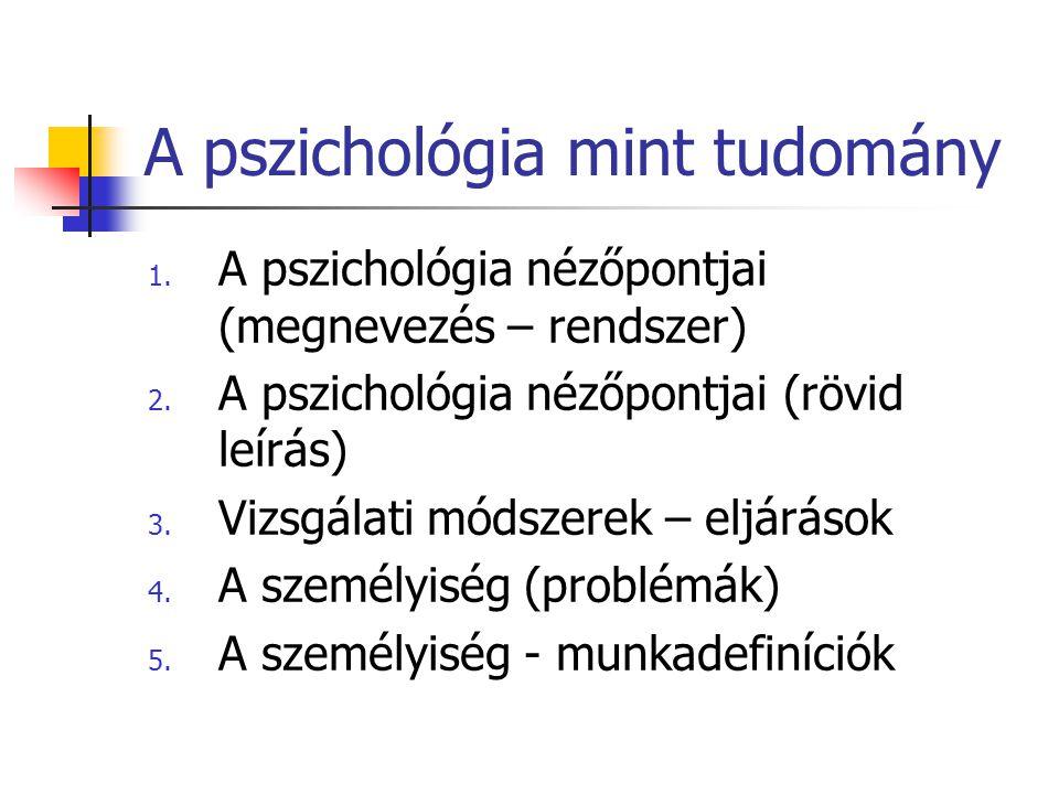 A pszichológia mint tudomány 1. A pszichológia nézőpontjai (megnevezés – rendszer) 2. A pszichológia nézőpontjai(rövid leírás) 3. Vizsgálati módszerek