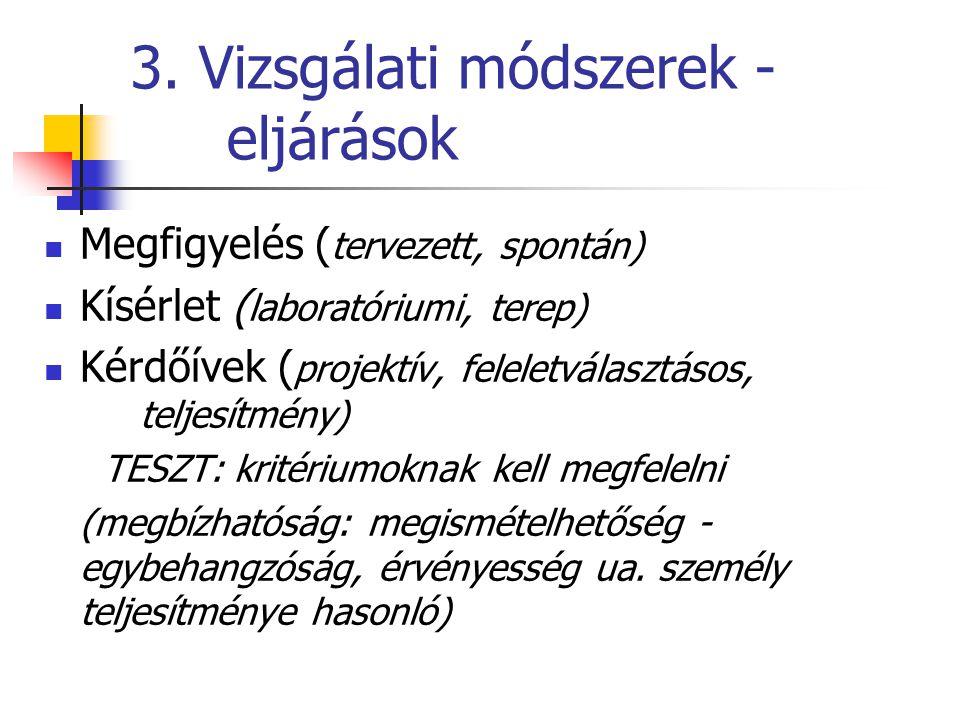 3. Vizsgálati módszerek - eljárások Megfigyelés ( tervezett, spontán) Kísérlet ( laboratóriumi, terep) Kérdőívek ( projektív, feleletválasztásos, telj
