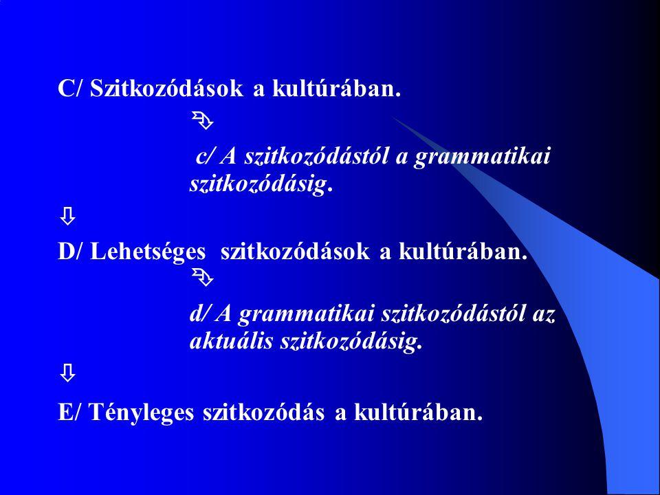 C/ Szitkozódások a kultúrában.  c/ A szitkozódástól a grammatikai szitkozódásig.  D/ Lehetséges szitkozódások a kultúrában.  d/ A grammatikai szitk