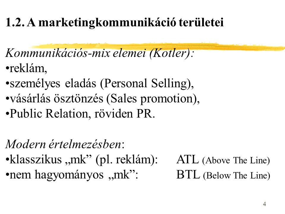 """5 ATL """"mk eszközök: (tömegmédiumokhoz kapcsolódnak) nyomtatott sajtó, szabadtéri eszközök, rádió, televízió, mozi, internet."""