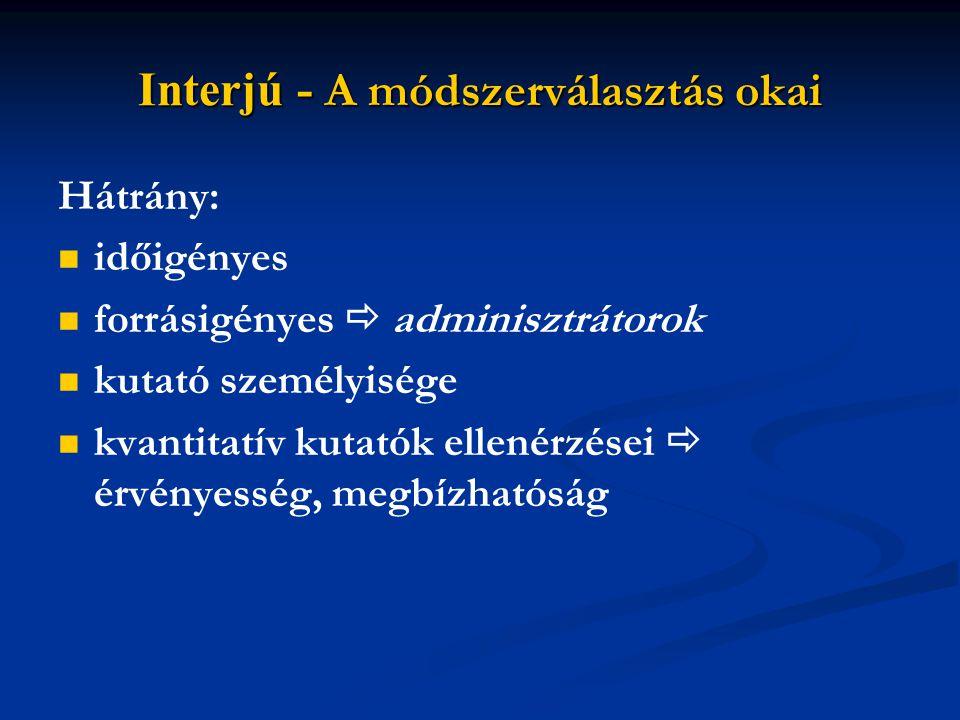 Az interjúk típusai 1. Az interjúalanyok száma szerint Egyéni Páros Triád Csoportos