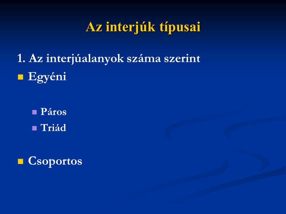 Az interjúk típusai 2. Fizikai jelenlét szerint Személyes Telefonos Internetes