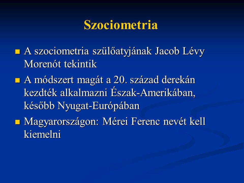 A szociometria szülőatyjának Jacob Lévy Morenót tekintik A szociometria szülőatyjának Jacob Lévy Morenót tekintik A módszert magát a 20.