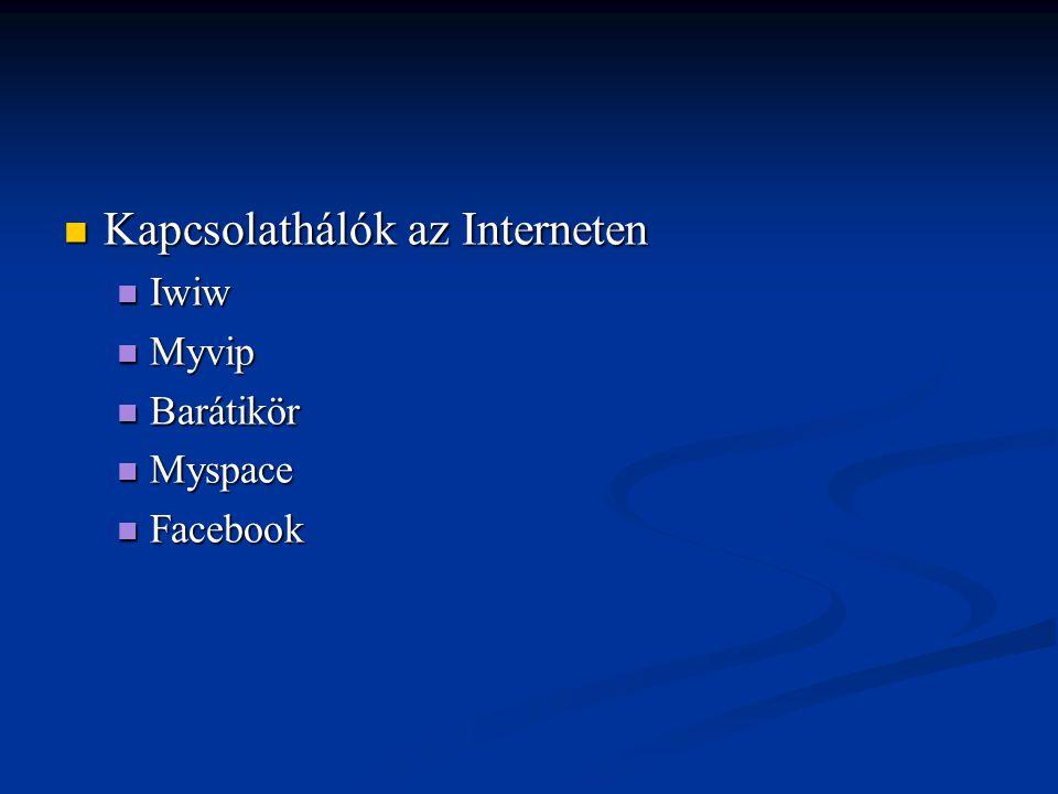 Kapcsolathálók az Interneten Kapcsolathálók az Interneten Iwiw Iwiw Myvip Myvip Barátikör Barátikör Myspace Myspace Facebook Facebook