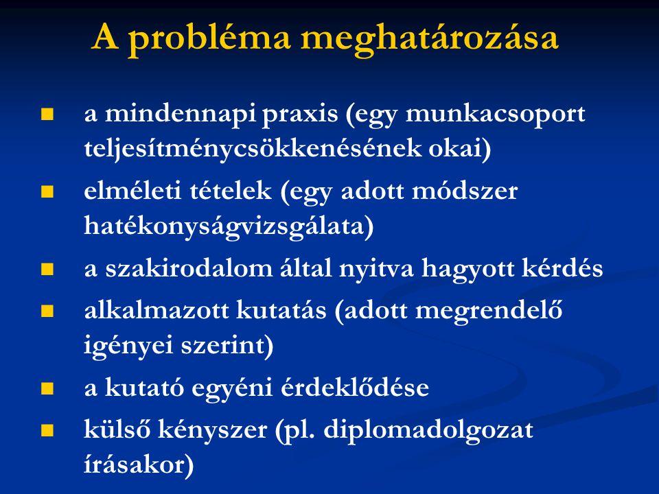 A probléma meghatározása a mindennapi praxis (egy munkacsoport teljesítménycsökkenésének okai) elméleti tételek (egy adott módszer hatékonyságvizsgála