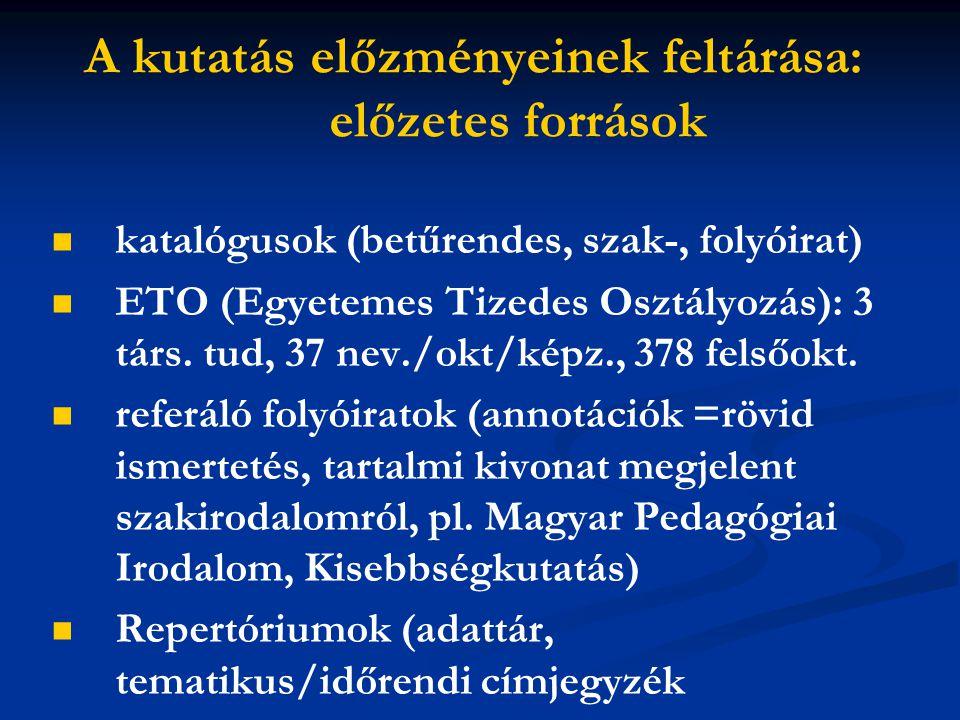 A kutatás előzményeinek feltárása: előzetes források katalógusok (betűrendes, szak-, folyóirat) ETO (Egyetemes Tizedes Osztályozás): 3 társ. tud, 37 n