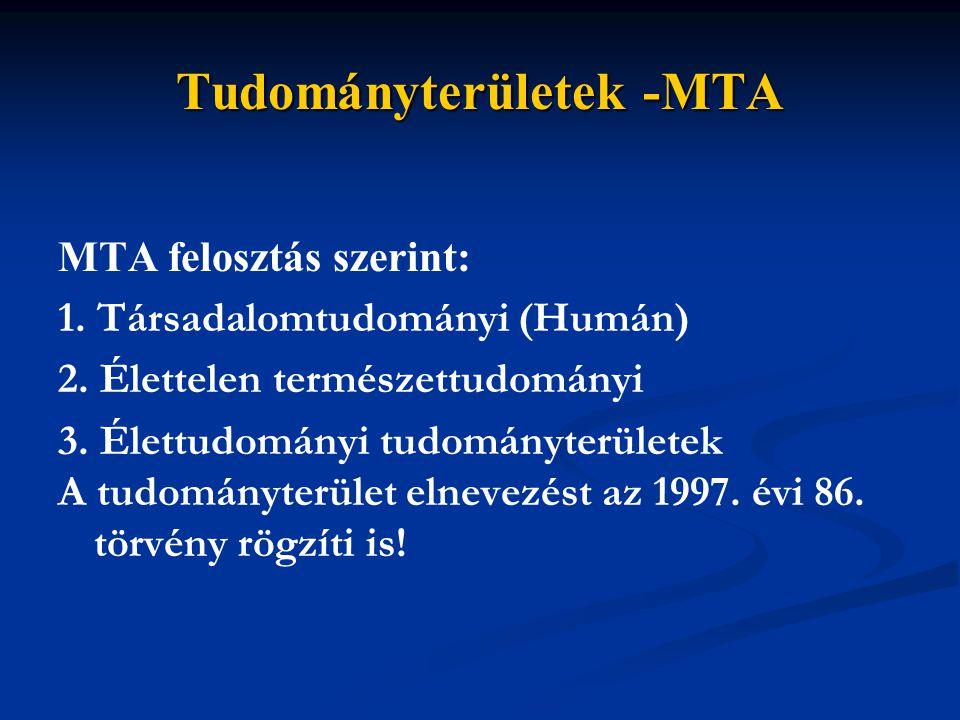Tudományterületek -MTA MTA felosztás szerint: 1. Társadalomtudományi (Humán) 2. Élettelen természettudományi 3. Élettudományi tudományterületek A tudo