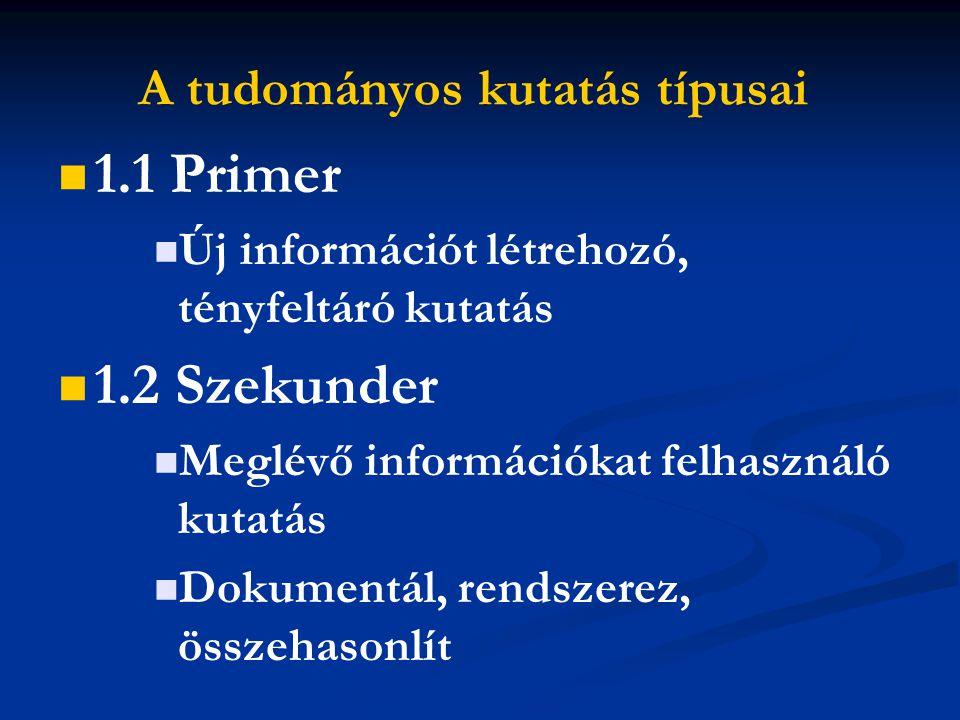 A tudományos kutatás típusai 1.1 Primer Új információt létrehozó, tényfeltáró kutatás 1.2 Szekunder Meglévő információkat felhasználó kutatás Dokumentál, rendszerez, összehasonlít