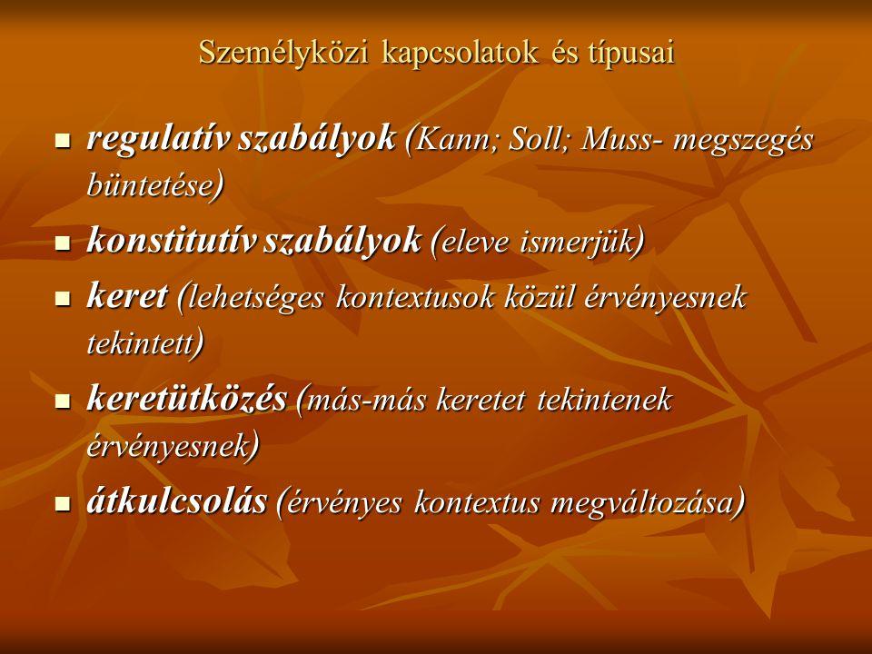 Személyközi kapcsolatok és típusai regulatív szabályok ( Kann; Soll; Muss- megszegés büntetése ) regulatív szabályok ( Kann; Soll; Muss- megszegés bün