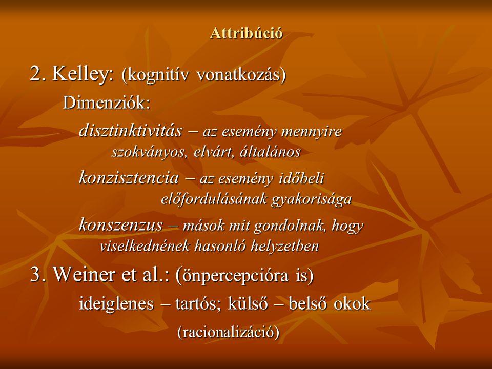 Attribúció 2. Kelley: (kognitív vonatkozás) Dimenziók: disztinktivitás – az esemény mennyire szokványos, elvárt, általános konzisztencia – az esemény