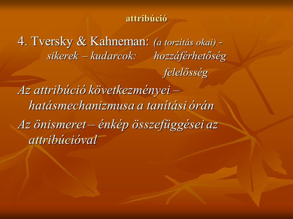 attribúció 4. Tversky & Kahneman: ( a torzítás okai) - sikerek – kudarcok: hozzáférhetőség felelősség Az attribúció következményei – hatásmechanizmusa
