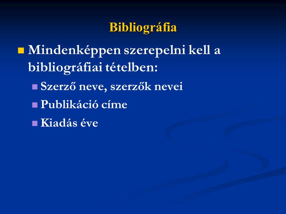 Bibliográfia Mindenképpen szerepelni kell a bibliográfiai tételben: Szerző neve, szerzők nevei Publikáció címe Kiadás éve