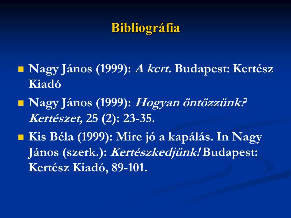 Bibliográfia Nagy János (1999): A kert.