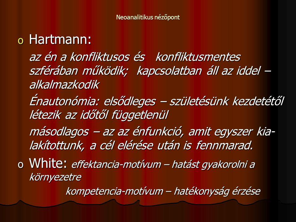 Neoanalitikus nézőpont o Hartmann: az én a konfliktusos és konfliktusmentes szférában működik; kapcsolatban áll az iddel – alkalmazkodik Énautonómia: elsődleges – születésünk kezdetétől létezik az időtől függetlenül másodlagos – az az énfunkció, amit egyszer kia- lakítottunk, a cél elérése után is fennmarad.