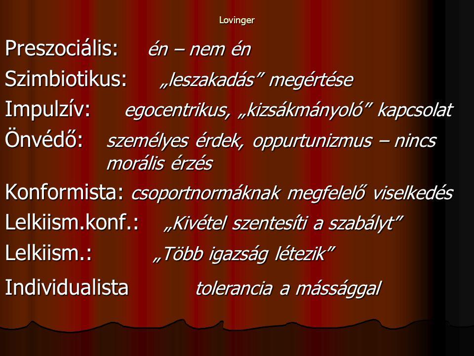 """Lovinger Preszociális: én – nem én Szimbiotikus: """"leszakadás megértése Impulzív: egocentrikus, """"kizsákmányoló kapcsolat Önvédő: személyes érdek, oppurtunizmus – nincs morális érzés Konformista: csoportnormáknak megfelelő viselkedés Lelkiism.konf.: """"Kivétel szentesíti a szabályt Lelkiism.: """"Több igazság létezik Individualista tolerancia a mássággal"""