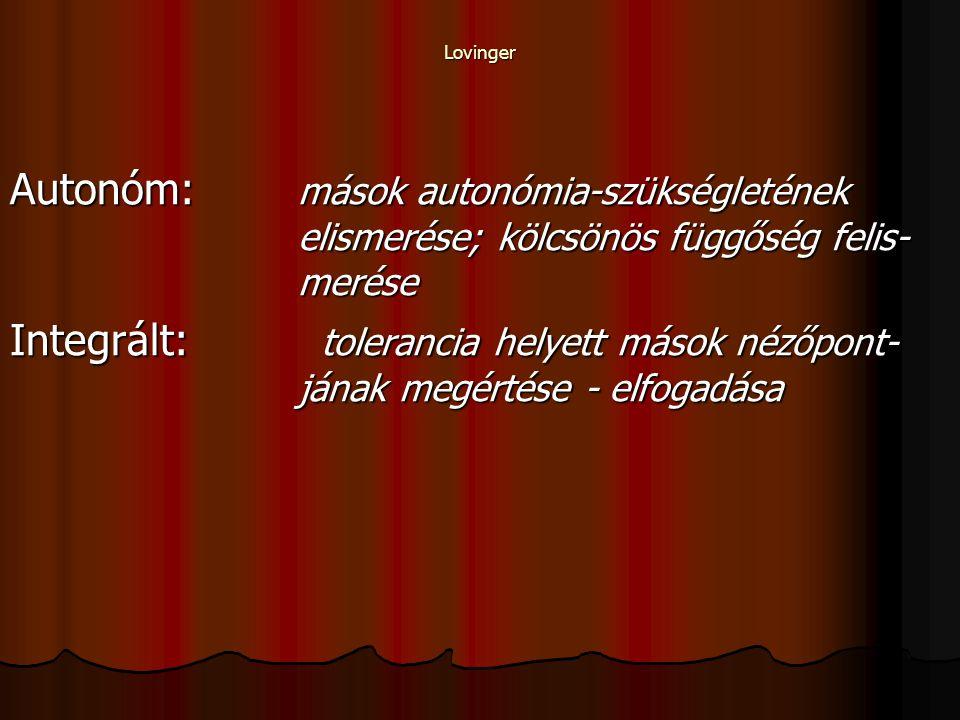 Lovinger Autonóm: mások autonómia-szükségletének elismerése; kölcsönös függőség felis- merése Integrált: tolerancia helyett mások nézőpont- jának megértése - elfogadása