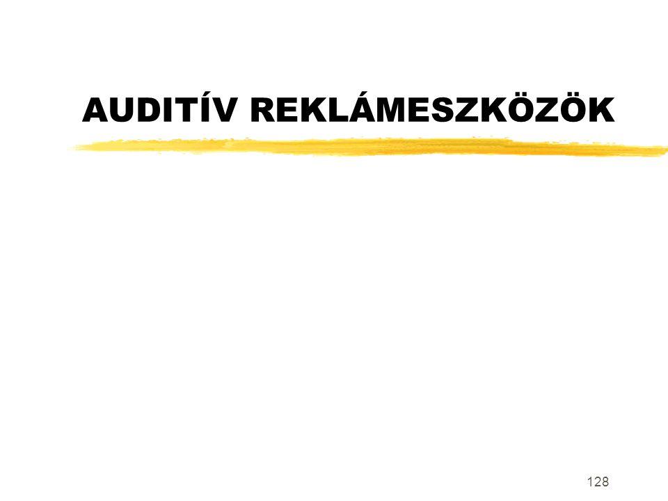 128 AUDITÍV REKLÁMESZKÖZÖK