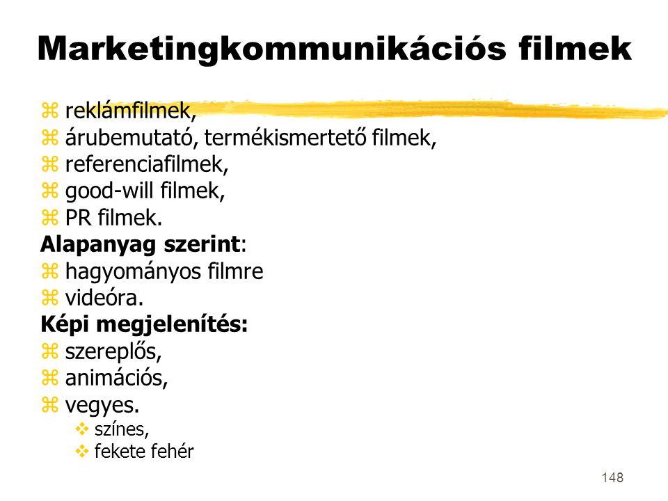 148 Marketingkommunikációs filmek zreklámfilmek, zárubemutató, termékismertető filmek, zreferenciafilmek, zgood-will filmek, zPR filmek. Alapanyag sze