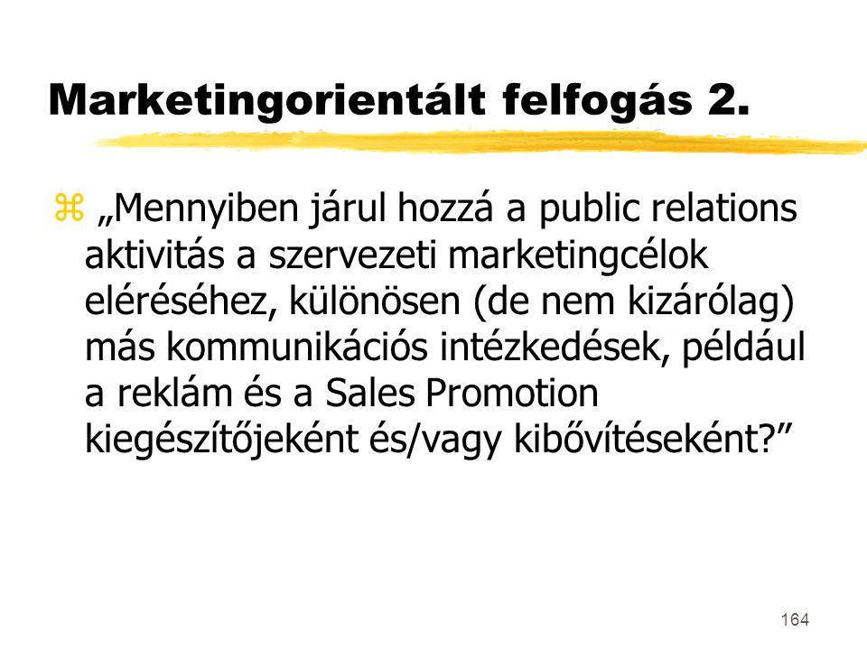 """164 Marketingorientált felfogás 2. z """"Mennyiben járul hozzá a public relations aktivitás a szervezeti marketingcélok eléréséhez, különösen (de nem kiz"""