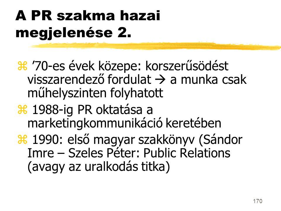 170 A PR szakma hazai megjelenése 2. z '70-es évek közepe: korszerűsödést visszarendező fordulat  a munka csak műhelyszinten folyhatott z 1988-ig PR
