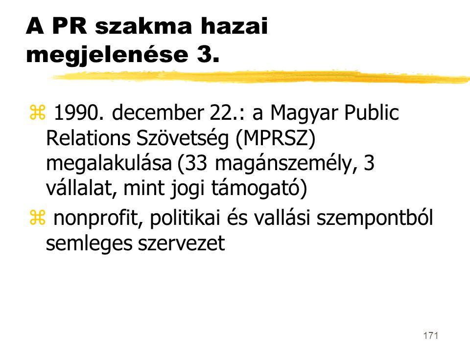 171 A PR szakma hazai megjelenése 3. z 1990. december 22.: a Magyar Public Relations Szövetség (MPRSZ) megalakulása (33 magánszemély, 3 vállalat, mint