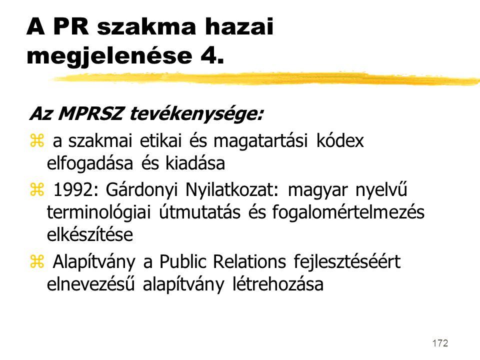 172 A PR szakma hazai megjelenése 4. Az MPRSZ tevékenysége: z a szakmai etikai és magatartási kódex elfogadása és kiadása z 1992: Gárdonyi Nyilatkozat