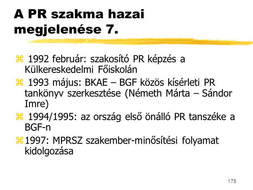 175 A PR szakma hazai megjelenése 7. z 1992 február: szakosító PR képzés a Külkereskedelmi Főiskolán z 1993 május: BKAE – BGF közös kísérleti PR tankö
