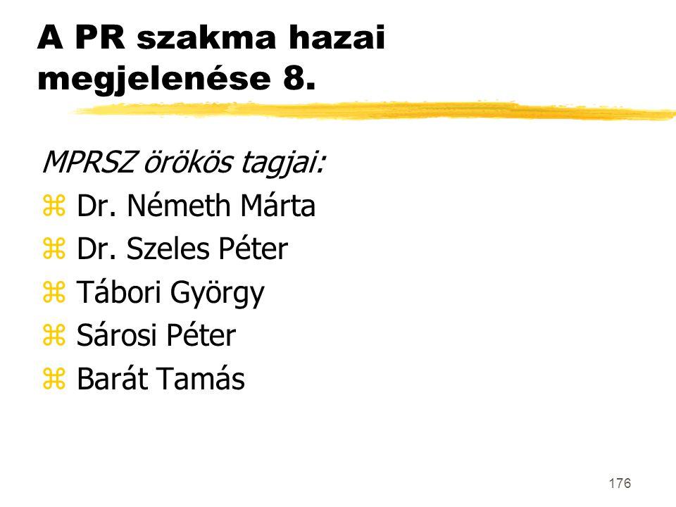 176 A PR szakma hazai megjelenése 8. MPRSZ örökös tagjai: z Dr. Németh Márta z Dr. Szeles Péter z Tábori György z Sárosi Péter z Barát Tamás