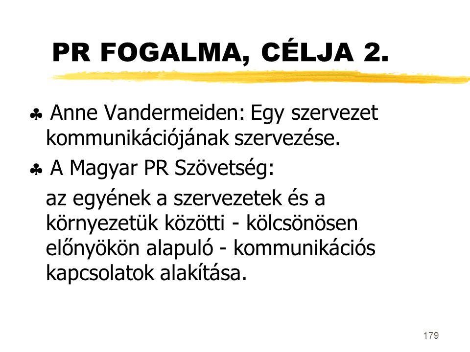 179 PR FOGALMA, CÉLJA 2.  Anne Vandermeiden: Egy szervezet kommunikációjának szervezése.  A Magyar PR Szövetség: az egyének a szervezetek és a körny