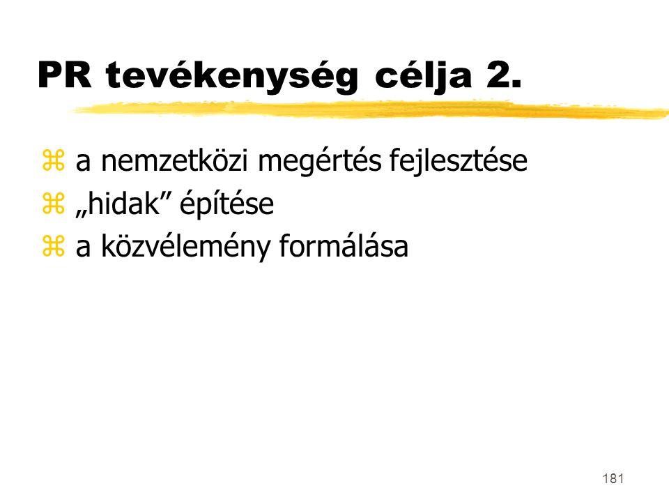 """181 PR tevékenység célja 2. z a nemzetközi megértés fejlesztése z """"hidak"""" építése z a közvélemény formálása"""