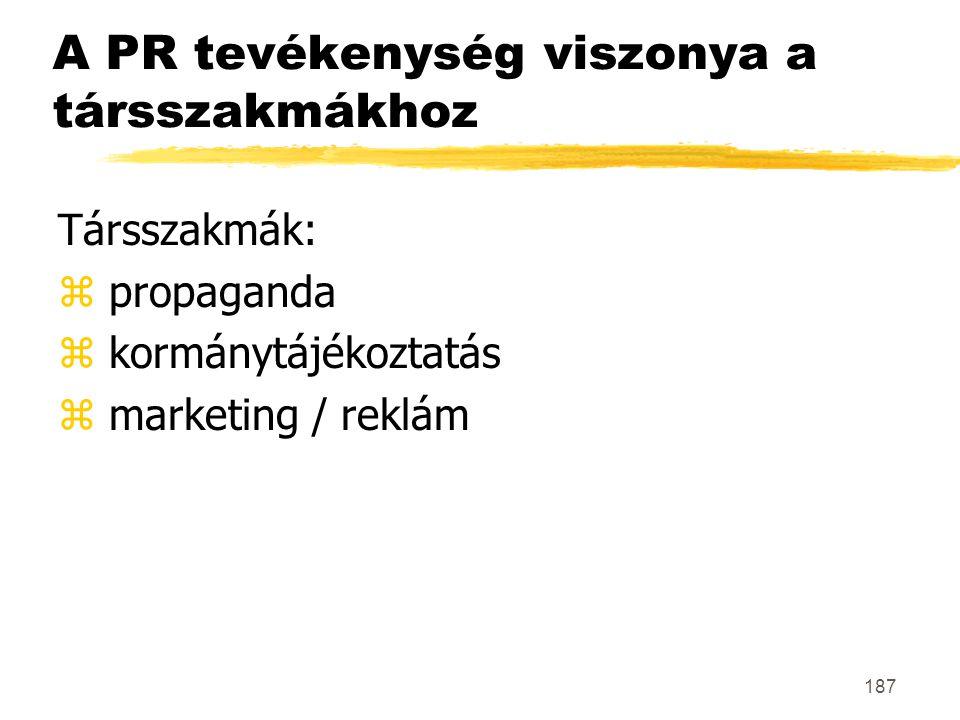 187 A PR tevékenység viszonya a társszakmákhoz Társszakmák: z propaganda z kormánytájékoztatás z marketing / reklám