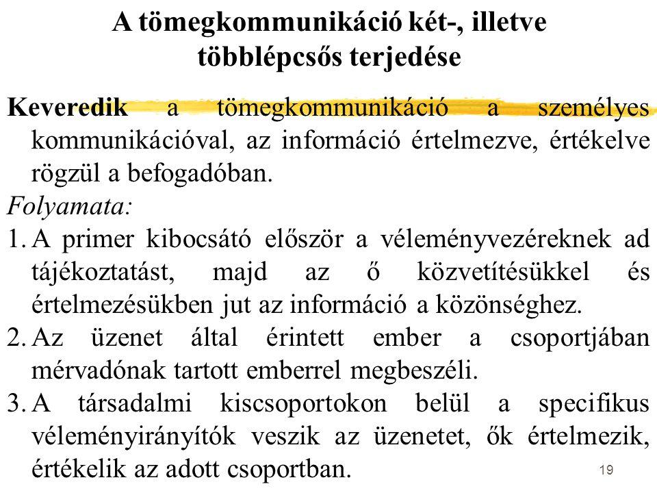 19 A tömegkommunikáció két-, illetve többlépcsős terjedése Keveredik a tömegkommunikáció a személyes kommunikációval, az információ értelmezve, értéke