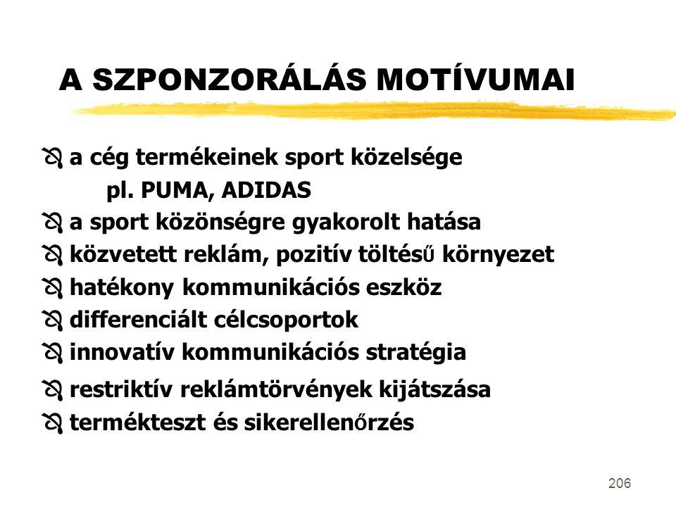 206 A SZPONZORÁLÁS MOTÍVUMAI  a cég termékeinek sport közelsége pl. PUMA, ADIDAS  a sport közönségre gyakorolt hatása  közvetett reklám, pozitív tö