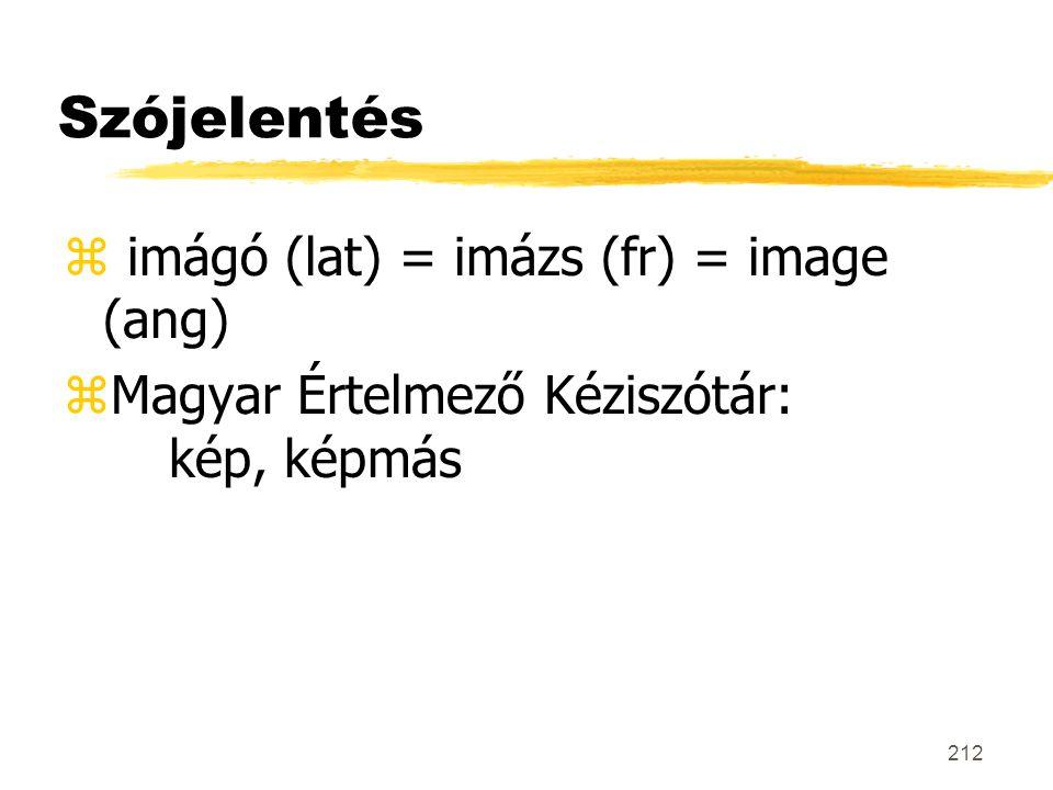 212 Szójelentés z imágó (lat) = imázs (fr) = image (ang) zMagyar Értelmező Kéziszótár: kép, képmás