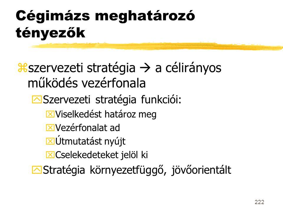 222 Cégimázs meghatározó tényezők zszervezeti stratégia  a célirányos működés vezérfonala ySzervezeti stratégia funkciói: xViselkedést határoz meg xV