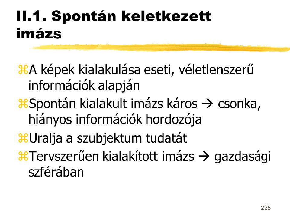 225 II.1. Spontán keletkezett imázs zA képek kialakulása eseti, véletlenszerű információk alapján zSpontán kialakult imázs káros  csonka, hiányos inf