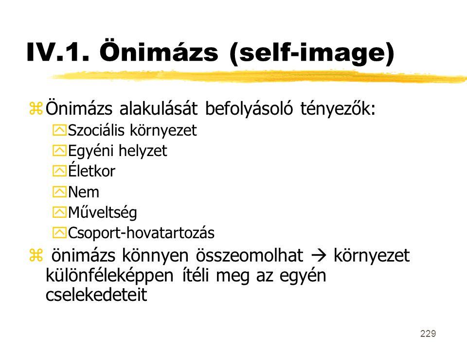 229 IV.1. Önimázs (self-image) zÖnimázs alakulását befolyásoló tényezők: ySzociális környezet yEgyéni helyzet yÉletkor yNem yMűveltség yCsoport-hovata