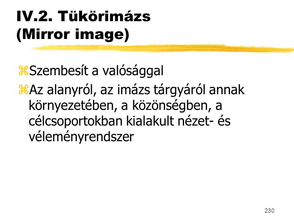 230 IV.2. Tükörimázs (Mirror image) zSzembesít a valósággal zAz alanyról, az imázs tárgyáról annak környezetében, a közönségben, a célcsoportokban kia