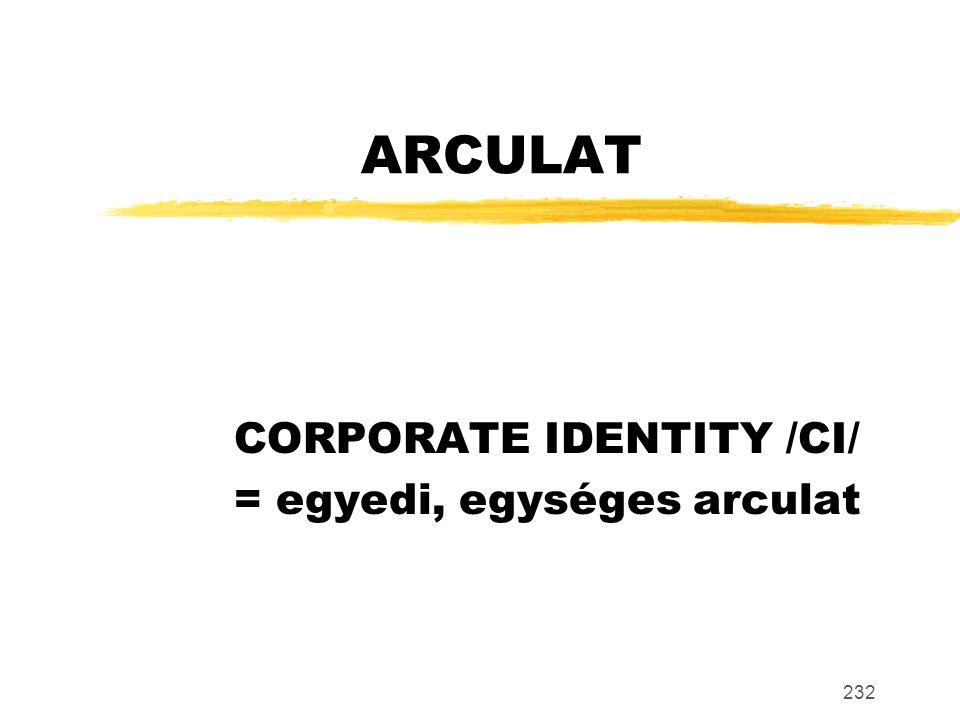 232 ARCULAT CORPORATE IDENTITY /CI/ = egyedi, egységes arculat
