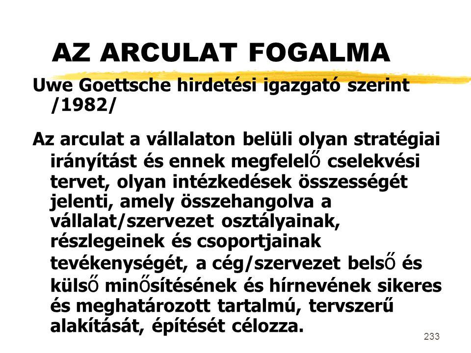 233 AZ ARCULAT FOGALMA Uwe Goettsche hirdetési igazgató szerint /1982/ Az arculat a vállalaton belüli olyan stratégiai irányítást és ennek megfelel ő