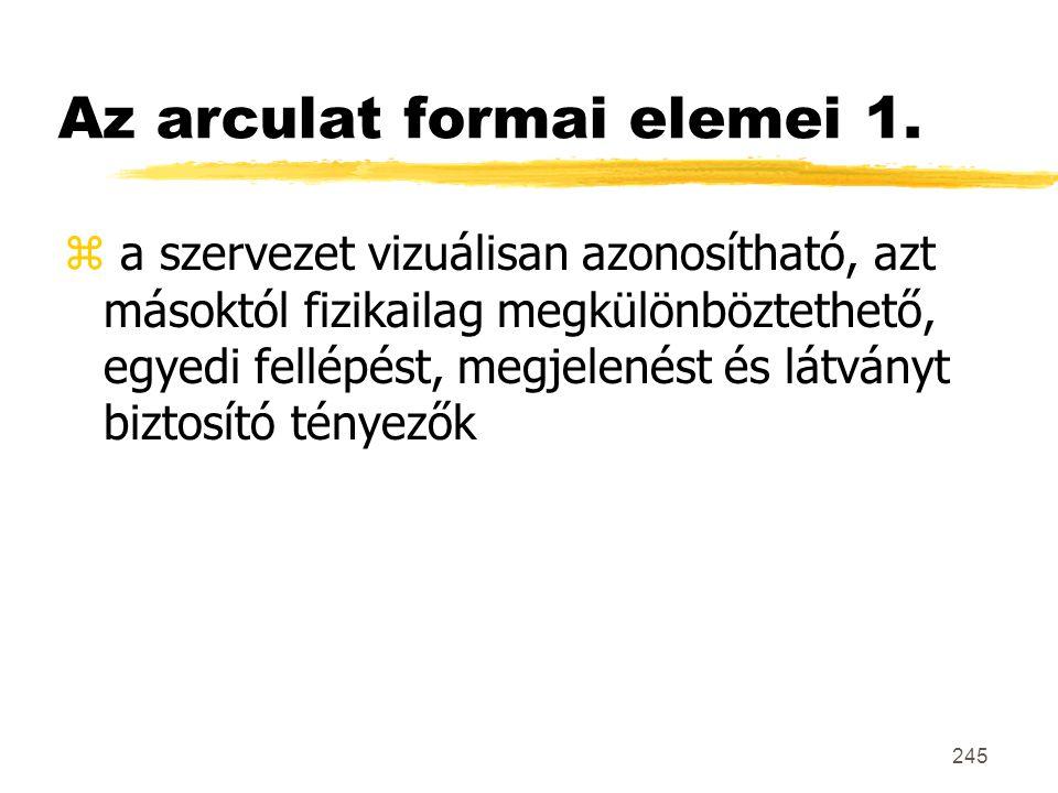 245 Az arculat formai elemei 1. z a szervezet vizuálisan azonosítható, azt másoktól fizikailag megkülönböztethető, egyedi fellépést, megjelenést és lá