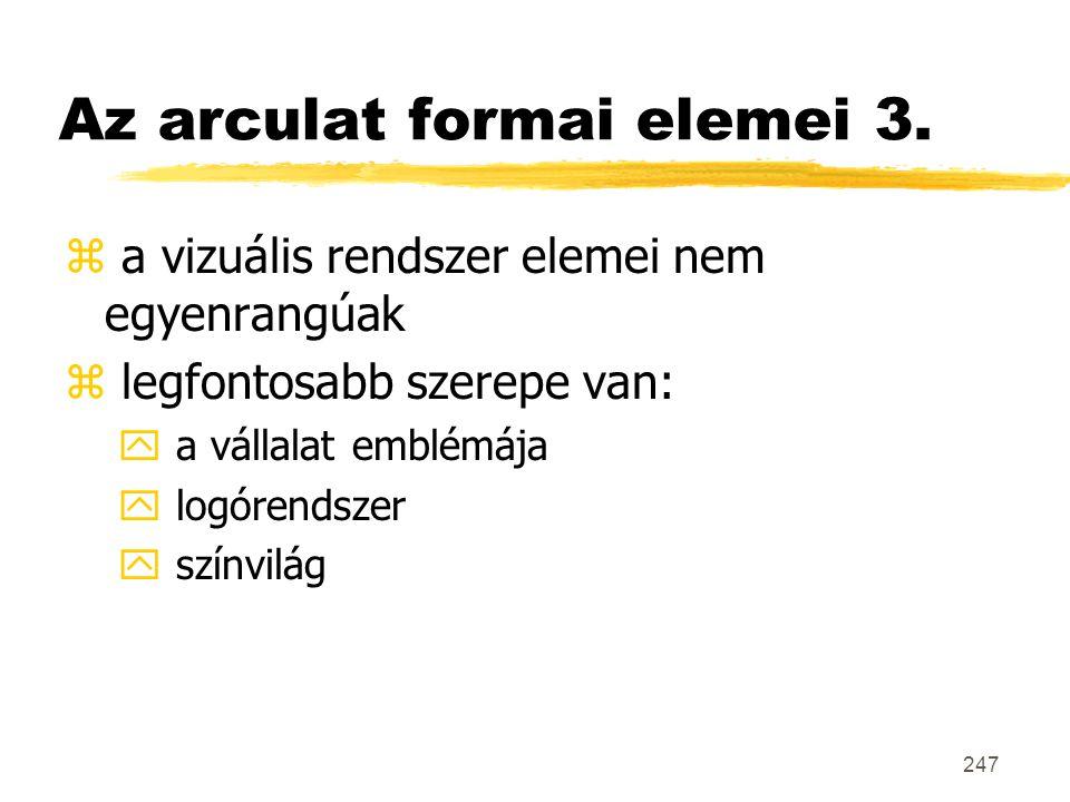 247 Az arculat formai elemei 3. z a vizuális rendszer elemei nem egyenrangúak z legfontosabb szerepe van: y a vállalat emblémája y logórendszer y szín