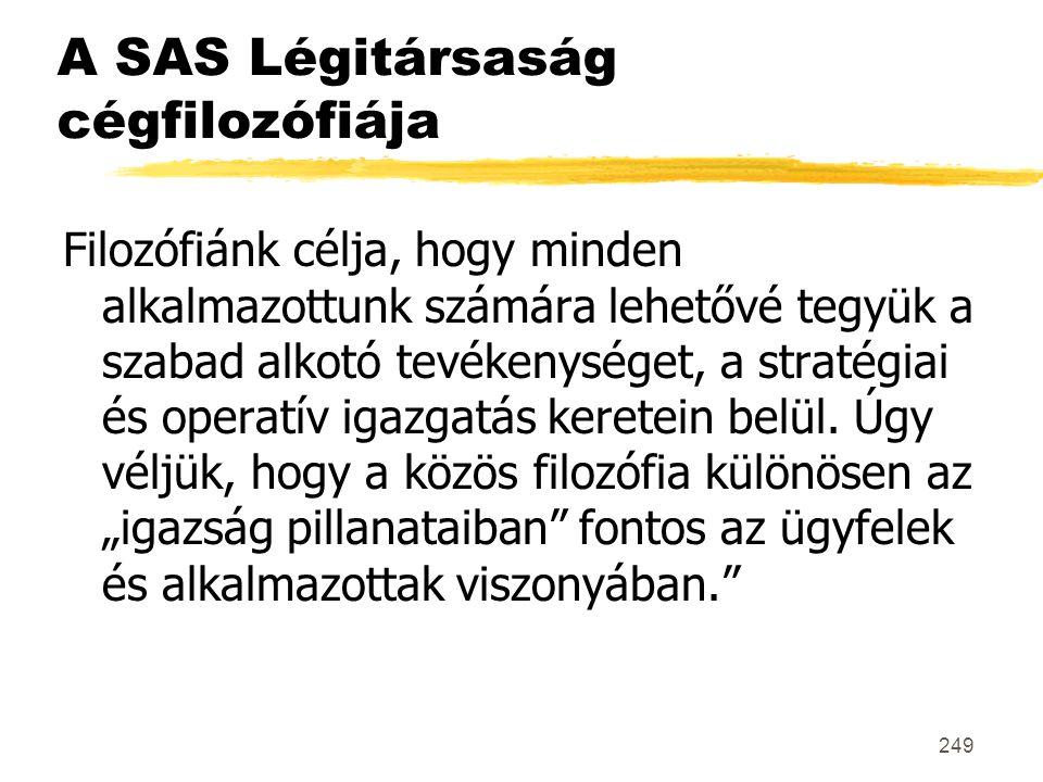 249 A SAS Légitársaság cégfilozófiája Filozófiánk célja, hogy minden alkalmazottunk számára lehetővé tegyük a szabad alkotó tevékenységet, a stratégia