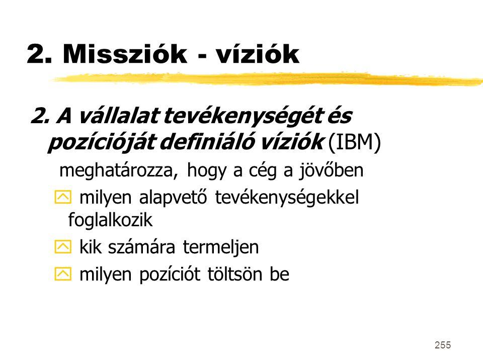 255 2. Missziók - víziók 2. A vállalat tevékenységét és pozícióját definiáló víziók (IBM) meghatározza, hogy a cég a jövőben y milyen alapvető tevéken