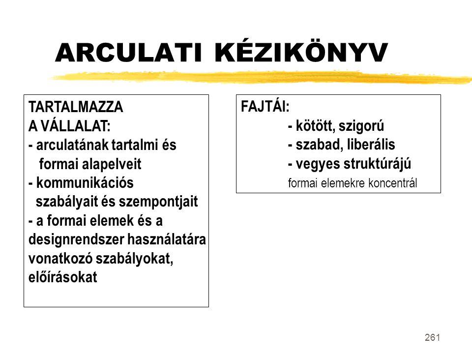 261 ARCULATI KÉZIKÖNYV TARTALMAZZA A VÁLLALAT: - arculatának tartalmi és formai alapelveit - kommunikációs szabályait és szempontjait - a formai eleme