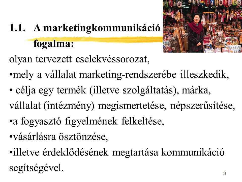 3 1.1. A marketingkommunikáció fogalma: olyan tervezett cselekvéssorozat, mely a vállalat marketing-rendszerébe illeszkedik, célja egy termék (illetve