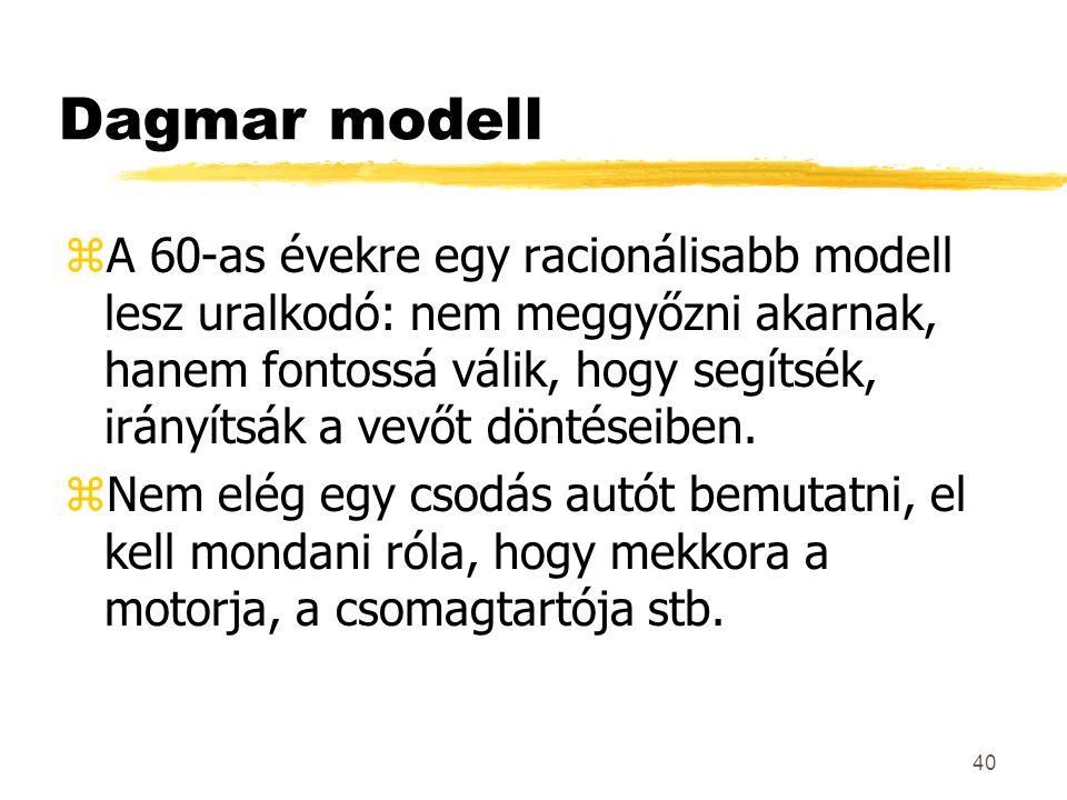 40 Dagmar modell zA 60-as évekre egy racionálisabb modell lesz uralkodó: nem meggyőzni akarnak, hanem fontossá válik, hogy segítsék, irányítsák a vevő