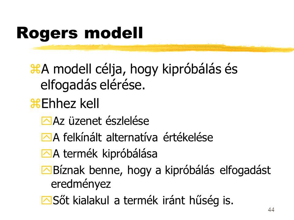 44 Rogers modell zA modell célja, hogy kipróbálás és elfogadás elérése. zEhhez kell yAz üzenet észlelése yA felkínált alternatíva értékelése yA termék