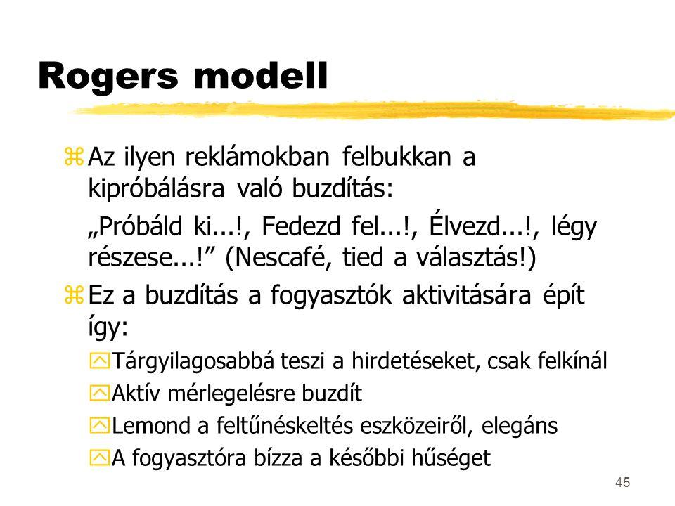 """45 Rogers modell zAz ilyen reklámokban felbukkan a kipróbálásra való buzdítás: """"Próbáld ki...!, Fedezd fel...!, Élvezd...!, légy részese...!"""" (Nescafé"""